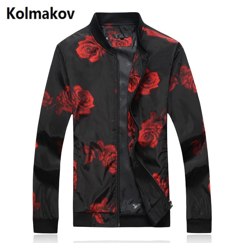 Kolmakov 2017 Осень Куртки Для Мужчинs Модная повседневная одежда цветы Для мужчин куртк ...