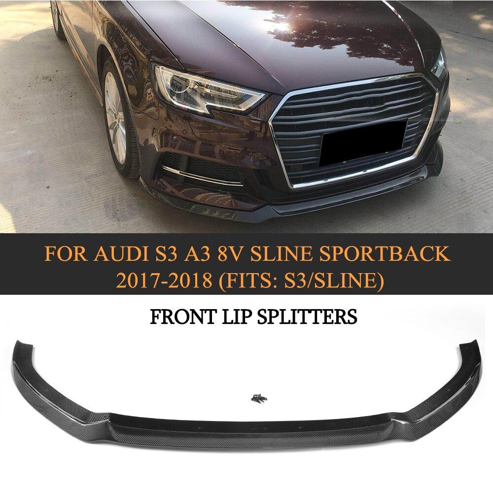Углеродного волокна автомобиль передний бампер губы фартук спойлер для Audi S3 A3 8 V SLINE Sportback хэтчбек 2017 2018 автомобилей Стиль