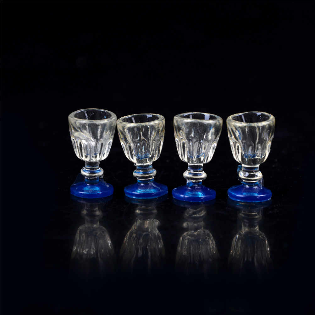 1:12 Scale 1/2Pcs DIY Parts Plastic Transparent Goblet Miniature Mini Wine Beer Cup Dollhouse Craft Home Decoration Glass Model