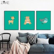 Cartoon Animal Deer Bird Bear Canvas Painting Nursery Print Personal Custom Poster Wall Picture Nordic Baby Girl Room Decoration