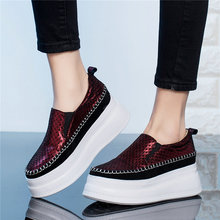 Casual Shoes Women Shiny Genuine Leather Wedges High Heel Party Pumps Lady Punk Goth Creepers 2019 Platform Oxfords