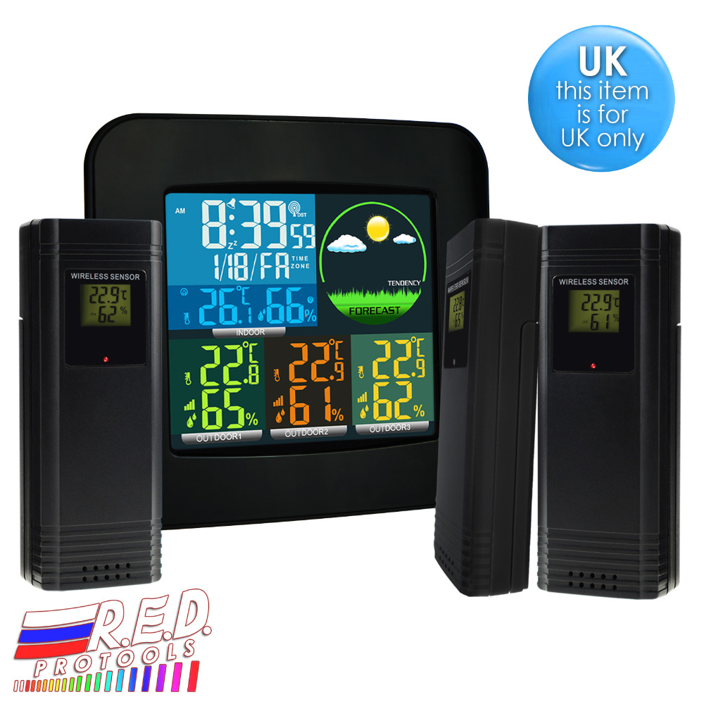 Digital Weather Station RCC MSF w/ 3 Indoor/Outdoor Wireless Sensors 6 kinds of Weather Forecast Colored LED LCD Display