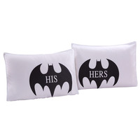 Halloween Bat His Hers Couples Pillow Cases Poyester Cotton 50x75cm Bedroom Decor White Matching Anniversary Housewarming