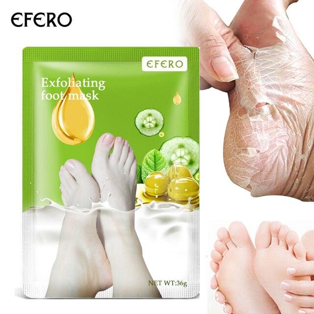 Efero 6 piezas = 3 pares de calcetines de mascarilla para pies de bebé para pedicura exfoliante mascarilla de pie eliminar exfoliación de cutículas de piel muerta pelar máscara