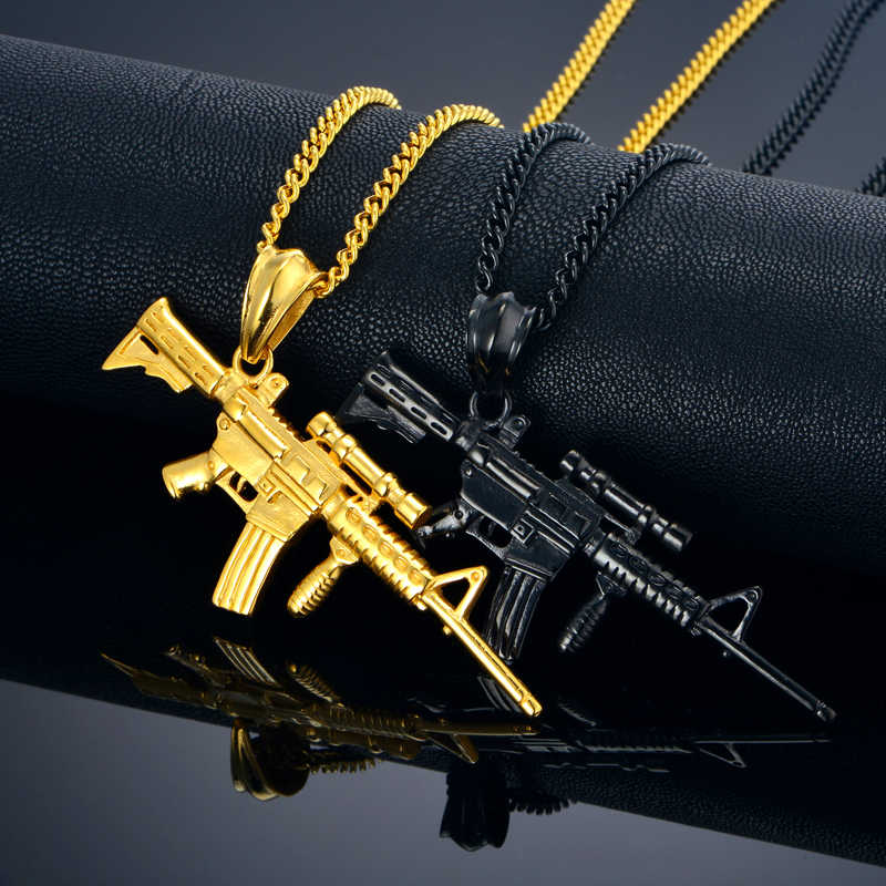 Hip Hop biżuteria wojskowa 4 rozmiar mężczyźni łańcuch karabin pistolet naszyjniki wisiorki dla mężczyzn czarny/złoty kolor ze stali nierdzewnej naszyjnik