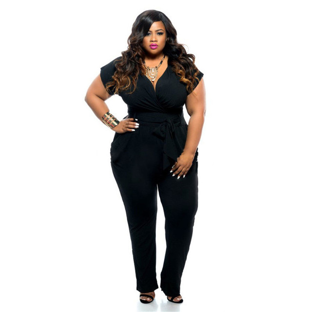 c8a0646d65b48 US $29.04 |Plus Size Women Jumpsuits Rompers Fashion Sexy Ladies Big Size  Short Sleeve V Neck Jumpsuits Summer Hot Sale Jumpsuits Long-in Jumpsuits  ...