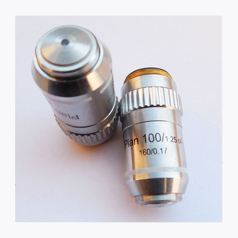 High Quality With Spring and Oil 100X / 1.25 Plan Achromatic Microscope Objective Lens Biological Microscope Parts DIN160/0.17 4x 10x s 40x s 100x s oil 195n semi plan achromatic objective lens 160 0 17 thread diameter 20 2mm for biological microscope