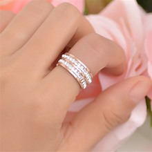 2018  Vintage Women Rings Stainless Steel Double Row Rhinestones Anniversary Party Ladies Fashion Jewelry