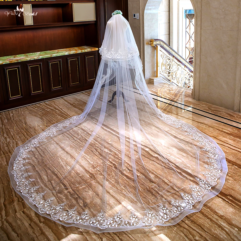 LZP304 Real Pictutres Bridal Accessories Elastic Edge Wedding Veil Two Layer Cathedral Wedding Veil 3 And 4 Meters Bridal Veil