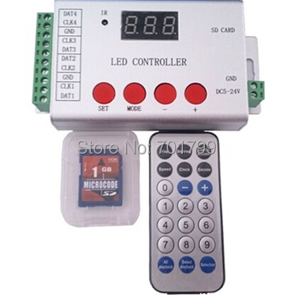 LED IR programmable SD full color controller support DMX512 TM1812 WS2811 WS2812 etc 4 ports drive