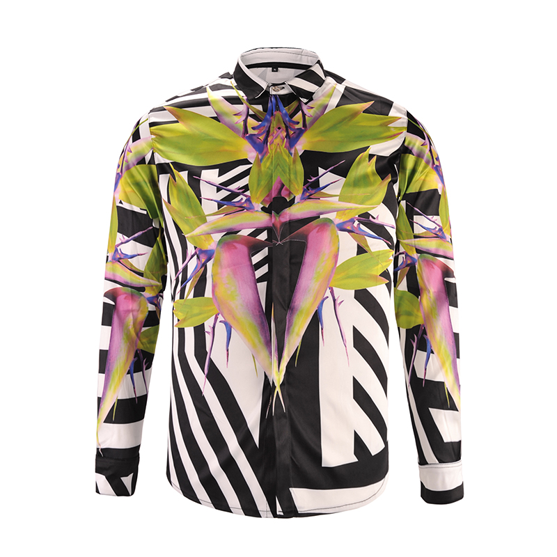 Printed Men Dress Shirt Splashed Paint Pattern Printed 3D Shirt Slim Fit Male Long Sleeve Shirts chemise homme Plus Size9179