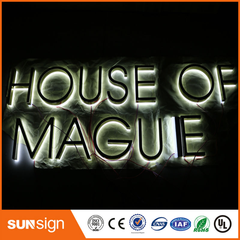 Taobao Gold Supplier Flat Stainless Steel Backlit LED Sign