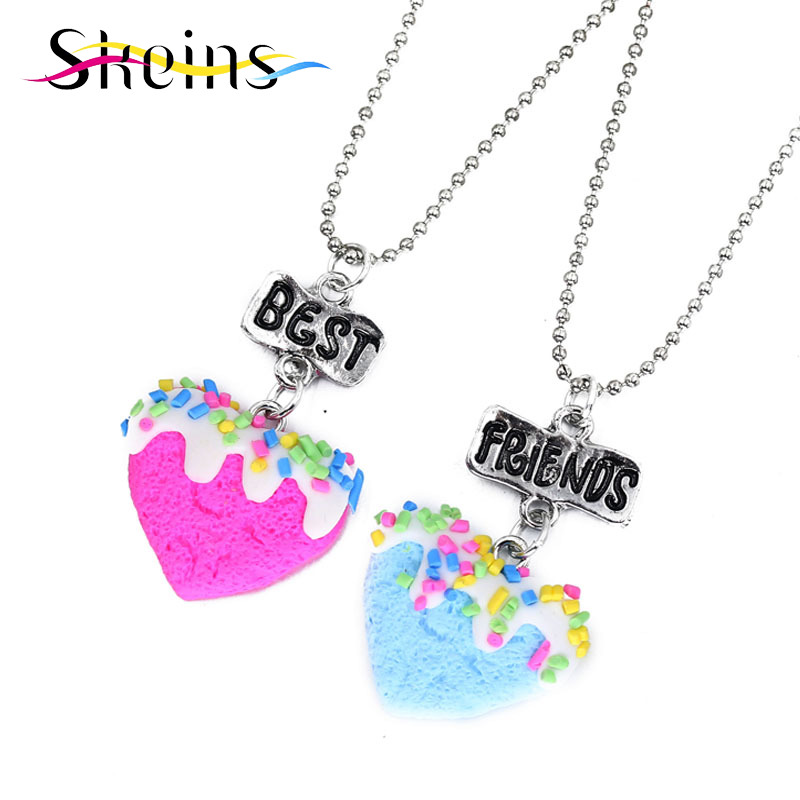 Skeins BFF Jewelry 2pcs/Set Best Friends Charm Love Heart Pendants Necklace Food jewelry For Kids Series Kids Ice-Cream Necklace