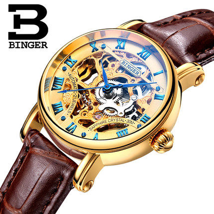 Luxury Hollow Geneva Binger Women Watches Casual Ladies Fashion Dress Leather Band Watch Skeleton Automatic Wristwatch Clock binger genuine gold automatic mechanical watches female form women dress fashion casual brand luxury wristwatch original box