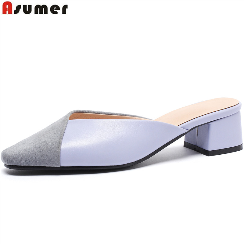 ASUMER Women Sandals Square Heels Ladies Shoes Pointed-Toe Mules New-Fashion Mixed-Color