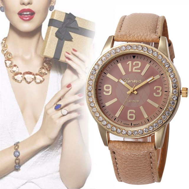 Ladies Fashion Quartz Watch Women Rhinestone Leather Casual Watch Ladies Gold Cr