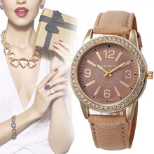 Ladies Fashion Quartz Watch Women Rhinestone Leather Casual Dress Watch Ladies Gold Crystal Clock Reloje Mujer Montre Femme#77