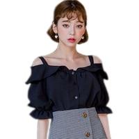 Kore Seksi Straplez Ruffles Bluzlar Gömlek Kadınlar Tops Yaz 2017 Zarif Şifon Bluz Gömlek Kadın Giyim Artı Boyutu