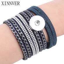 6colors New Arrival Women's Multi-layer Chain Crystal Rivet Leather 18/20mm Metal Snap Button Bracelet DIY Jewelry