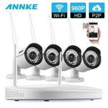 ANNKE 4CH CCTV System Wireless 960P Powerful Wireless NVR WIFI IP Smart IR Cut Weatherproof Camera