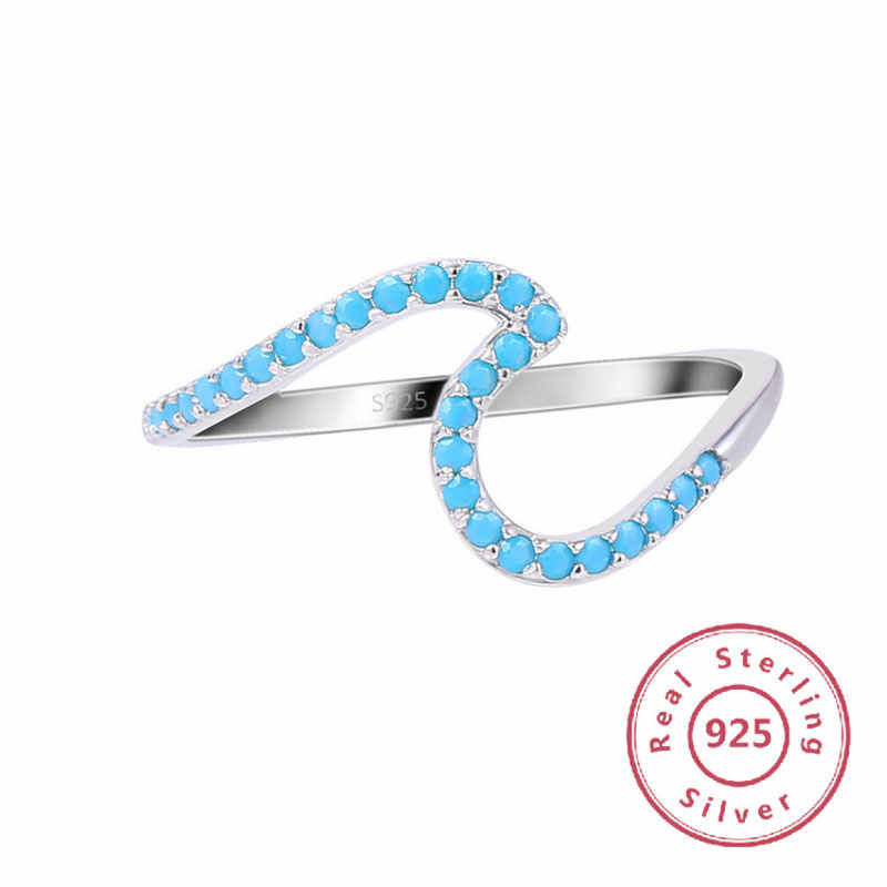 New Fashion 100% Original Solid 925 Silver Rings Blue Cubic Zirconia Jewelry Wedding Rings For Women Ocean Wave Couple Rings