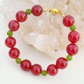 Vintage Noble Rubies Green Emeralds Beads Bracelets Magnetic Clasp 21cm