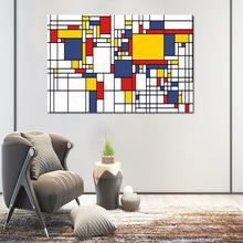 Abstract Painting Grid Pictures By Piet Cornelies Mondrian Modern Canvas Wall Art For Living Room Cuadros Decoration