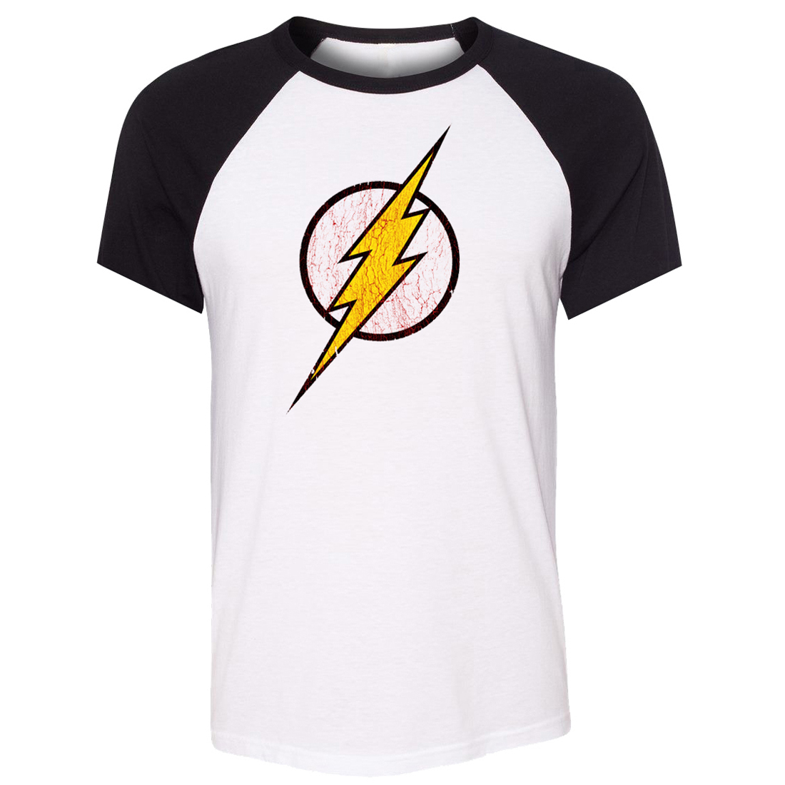 iDzn Unisex Summer T-shirt DC Comic The Flash Barry Allen Super Hero Art pattern Raglan Short Sleeve Men T shirt Casual Tee Tops