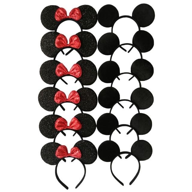 12 pièces cheveux accessoires Minnie/Mickey oreilles solide noir & rouge paillettes arc bandeaux pour garçon fille fête d'anniversaire célébration