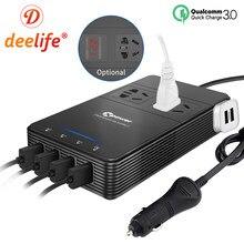 Deelife-inversor de corriente de 12 v y 220 v para coche, convertidor de voltaje de CC a ca de 12 v y 220 v con cargador rápido USB QC3.0, inversor automático de 230 voltios