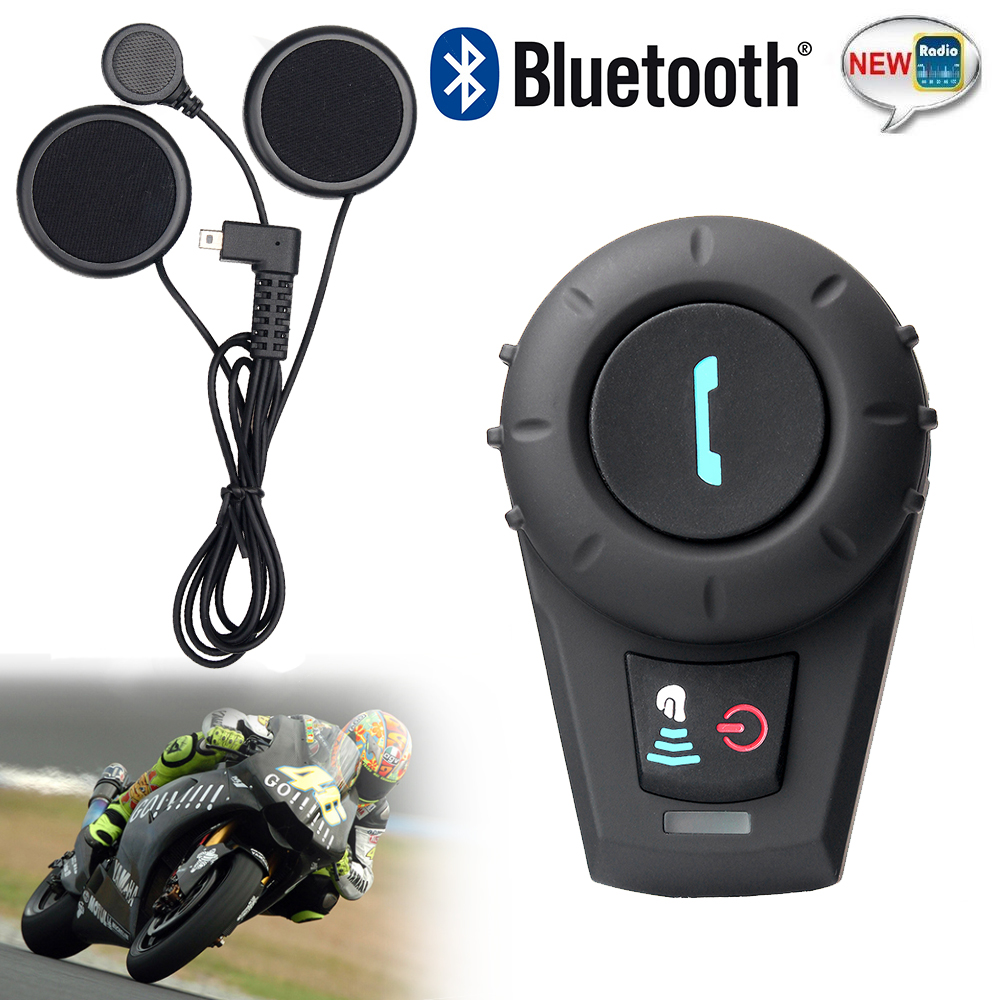 FM Radio+1 pcs BT Interphone Bluetooth Intercom Headset Full Duplex intercomunicador bluetooth For 3 Rider 500M Intercom