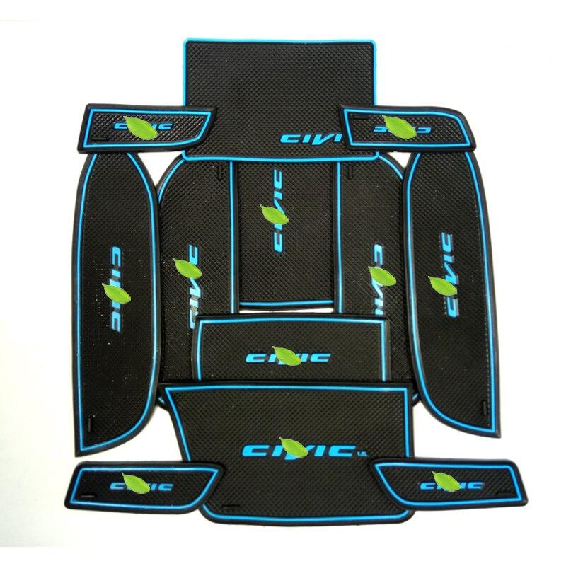 Envío de la alta calidad gel de sílice puerta Esterillas ranura puerta Esterillas Copa antideslizante Esterillas para 2012- 2014 Honda Civic 2.0l 12 unids