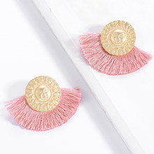 Boho Za Jewelry Big Fan Shape Tassel Earring For Women Brincos Boho Gold Color Human Face Design Charm Drop Dangle Earrings Hot(China)