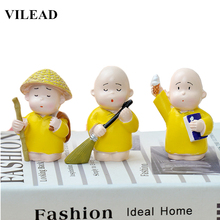 VILEAD 3pcs/Set Resin Cute Monk Figurines Lovely Cartoon Little Statue Modern Ornament Crafts for Home Decor Kids Gifts