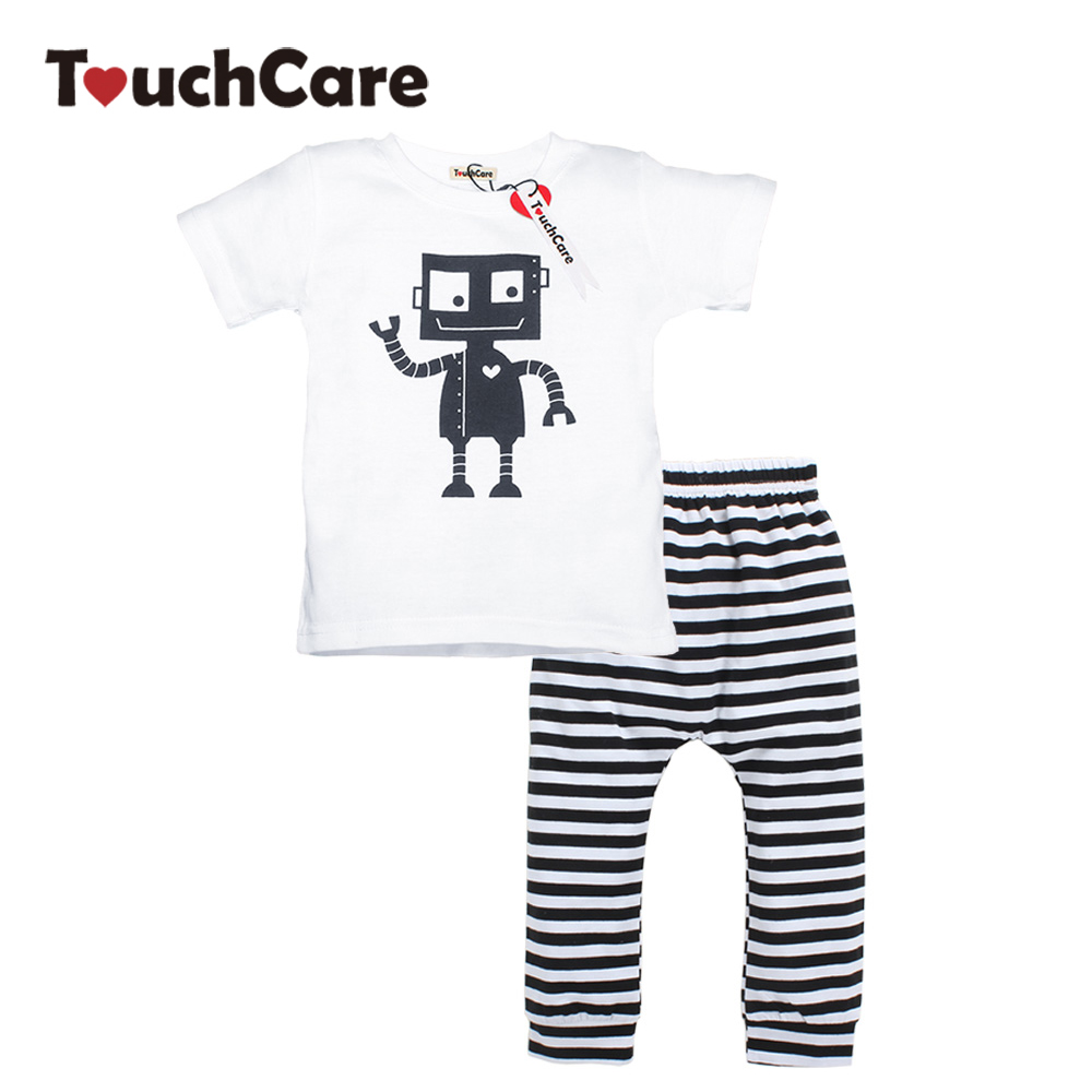 Infant Soft Cotton Baby Boy Girl Clothing Set Short Sleeve Robot Printed Toddler Tees O-Neck T Shirts Stripe Pants Kids Clothes
