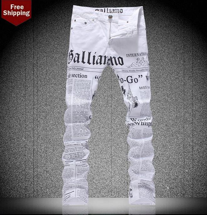ФОТО Spring fashion england printed english alphabet famous brand jeans mens casual pant denim trousers male straight personalized