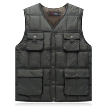2018 Autumn and winter mens vest new business casual down cotton multi-pocket warm thickened