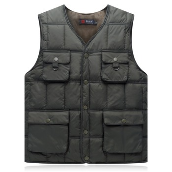 цена 2018 Autumn and winter men's vest new business casual vest men's down cotton multi-pocket warm cotton vest thickened vest онлайн в 2017 году