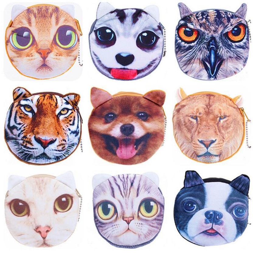 M026 2017 Cartoon Creative A Variety Of Expressions Plush Cat Dog Coin Purse Wallet Card Bag Girl Women Student Gift Wholesale