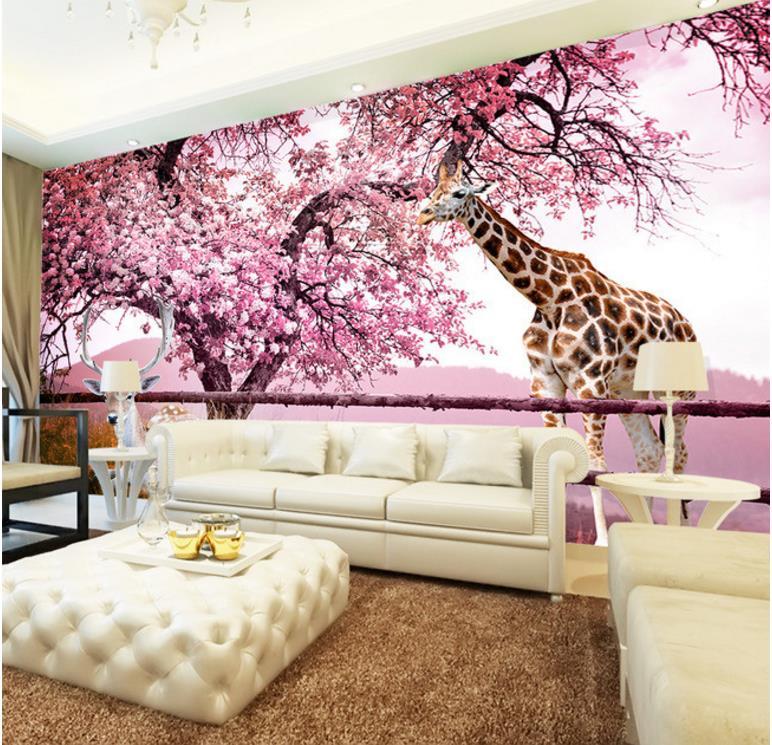 3d Stereoscopic Wallpaper Custom Cherry deer Brick Wall WallpaperFor Children's room Home Improvement Background пуф dreambag круг cherry