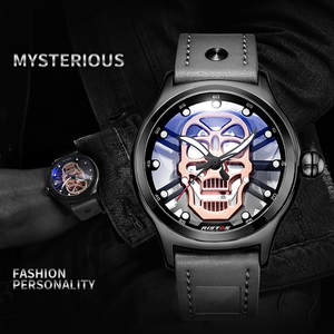 Hollow Men Watch Cool Luminous Skull Dial Transparent Case Men Quartz Wtist Watch Leather Strap zegarek meski montre homme reloj