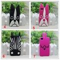 3d animal bonito bulldog cão coelho zebra coruja cat macio mj caricatura de silicone case capa para iphone 4 4s 5 5S