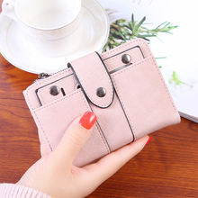 Women Small Scrub PU Leather Mini Short Wallets ID Card Holder bags Coin Purses Vintage for Lady Clutch Female phone bag