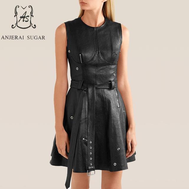 Spring Autumn Women's Genuine Leather dress black Sexy slim waistband zipper sleeveless female real leather A line Vest dresses