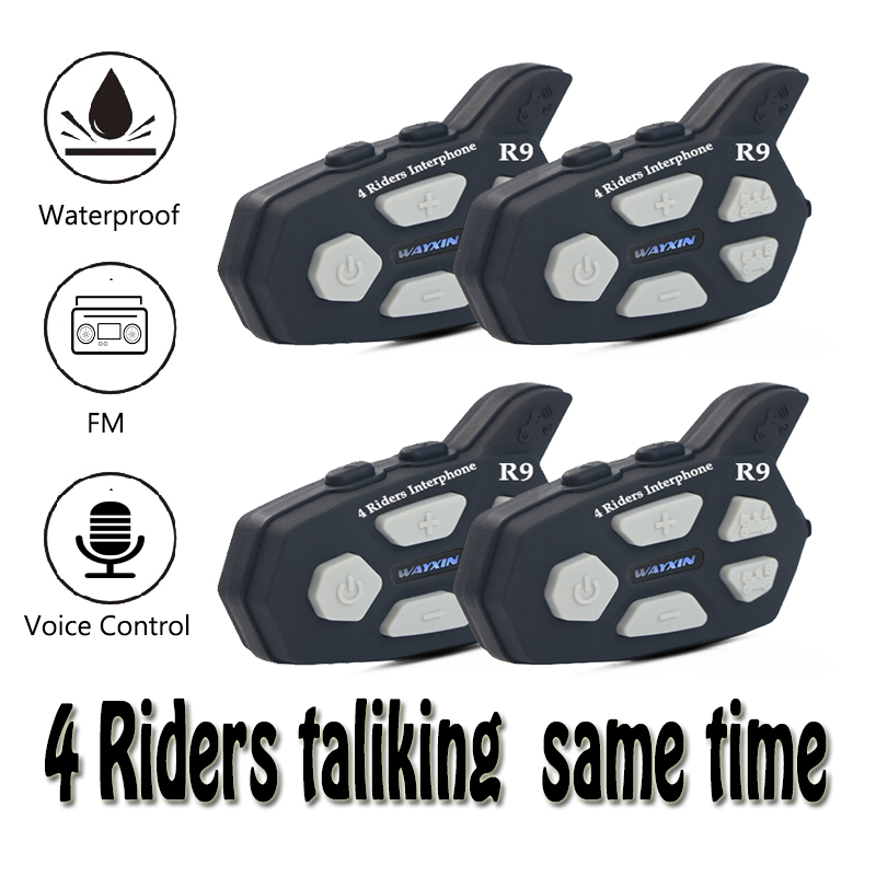 Motorcycle Itercome 4 Riders Talking Same Time Helmet Headsets   Bluetooth Intercom For Motorcycle FM 1PCS Intercom Motorcycle