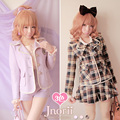 Princess sweet lolita coat Bobon21 preppy style sailor collar suit fashion lattice powder uniforms c0976