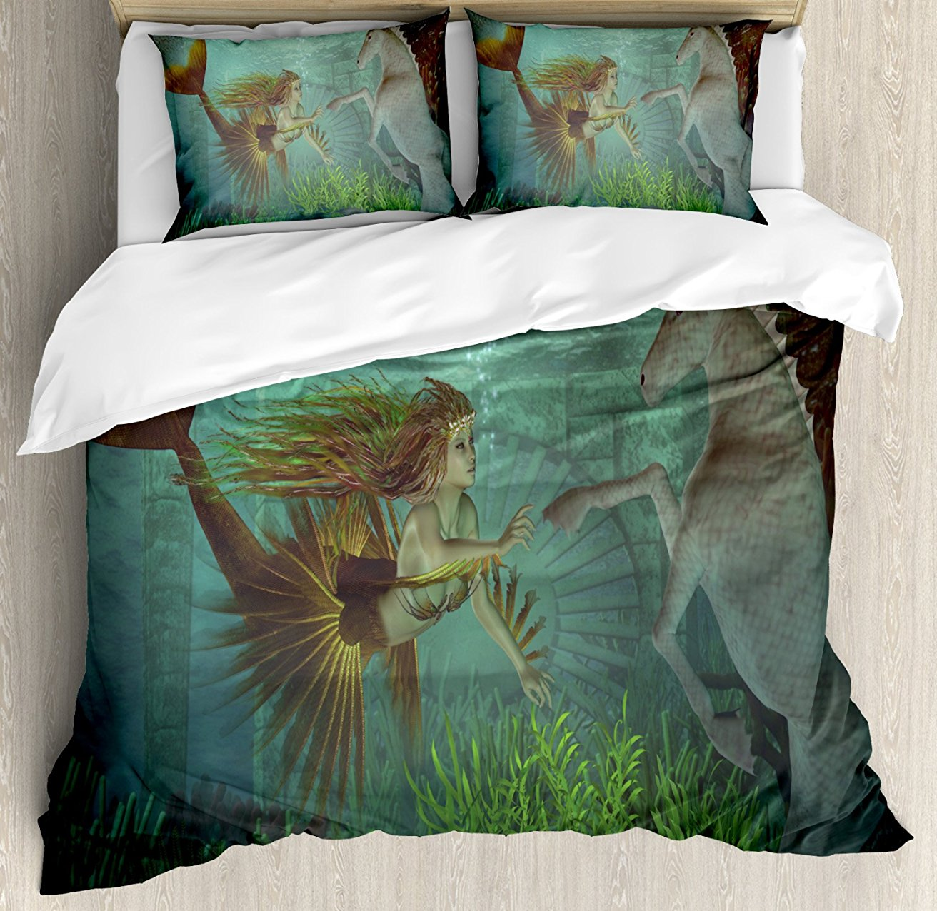 Mermaid Duvet Cover Set Mermaid Meets Seahorse Underwater World Fantasy Magical Fairytale Design 4 Piece Bedding