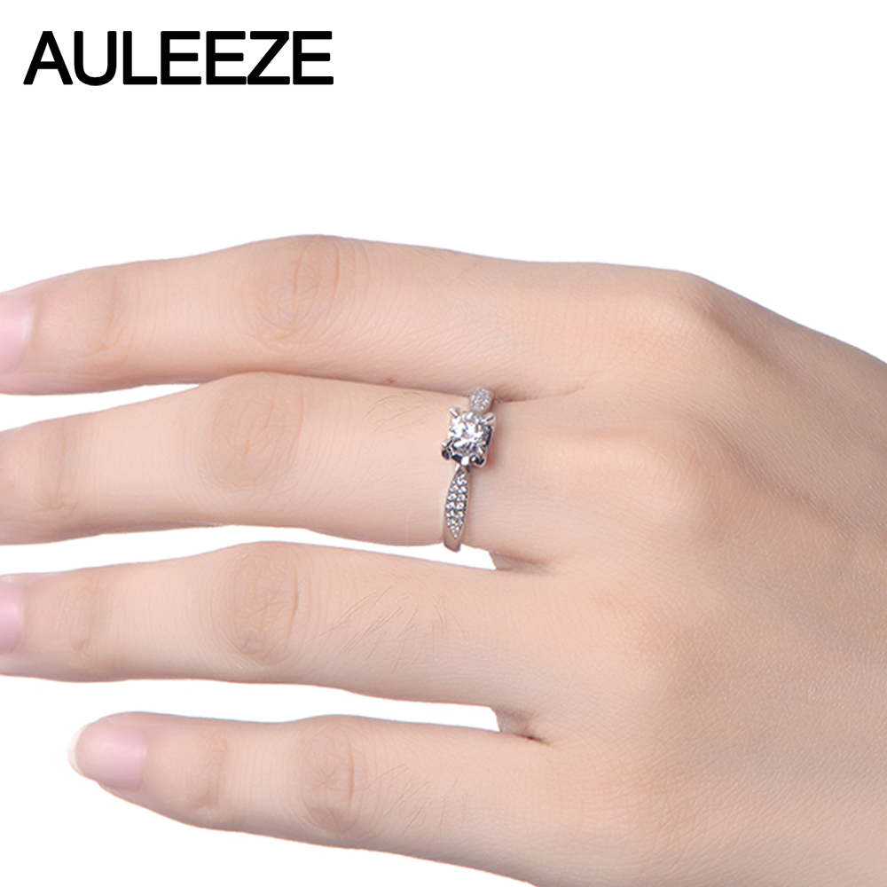 0.8CT Moissanites Ring Solid 18k White Gold Lady Wedding Ring Unique ...