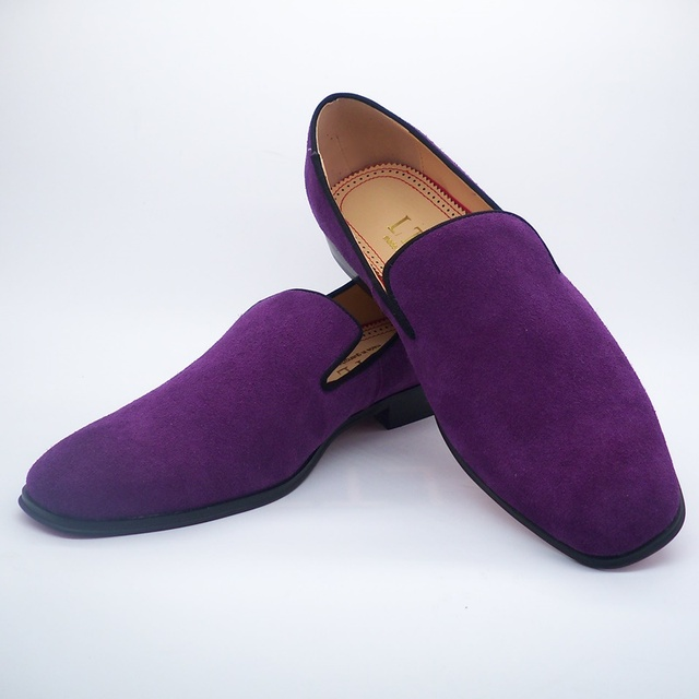 Lttl Dark Purple Suede Men Loafers Square Toe Dress Shoes Slip On S Party And Prom