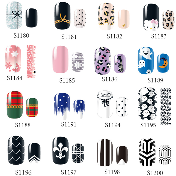 14 Tips NAIL Art Full Self Adhesive Stickers Polish Foils Transfer Tips Wrap Flowers Bowknots Leopard Decals Manicure Tool 138designs hot nail art stickers 100sheet adhesive nail tips polish decals wrap patch finger nail manicure decoration tools